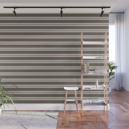 BM Mustang Brown & Color of the Year 2019 Metropolitan Light Gray Double Bold Horizontal Stripes Wall Mural