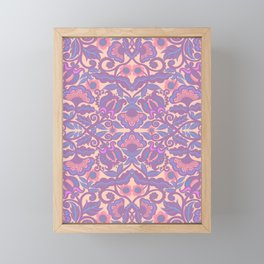 Purple Vines Folk Art Flower Pattern Framed Mini Art Print