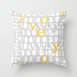 The ABC of i love you. In Yellow Throw Pillow