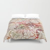 pittsburgh Duvet Covers featuring Pittsburgh by MapMapMaps.Watercolors