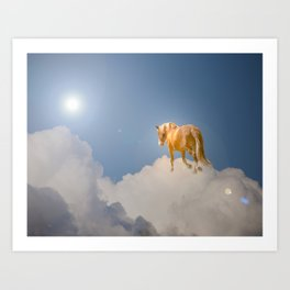 Walking on clouds over the blue sky Art Print