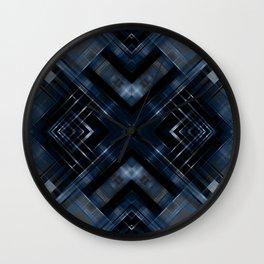 Abstract black blue pattern . Wall Clock
