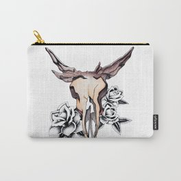 Bull Skull & Roses Boho Watercolor Carry-All Pouch