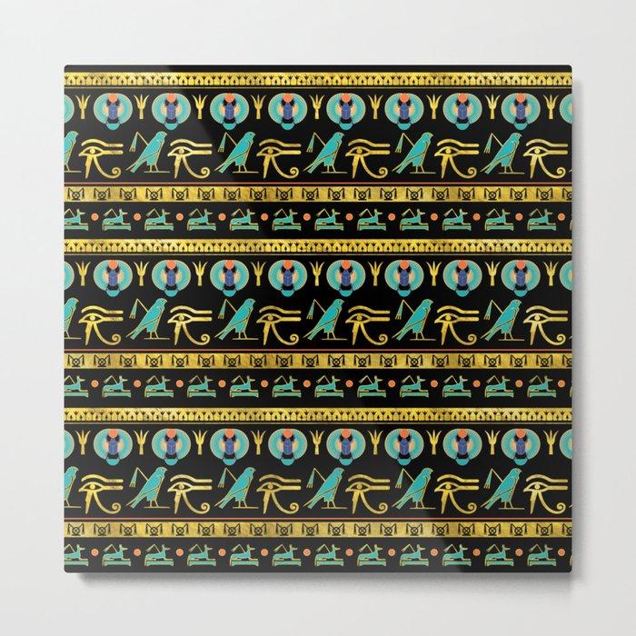 Egyptian  Ornament Symbols Pattern Metal Print