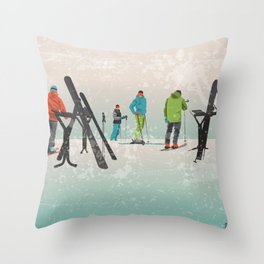 Skiers Summit Throw Pillow