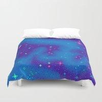 8bit Duvet Covers featuring Indigo Nebula (8bit) by Sarajea