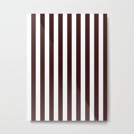 Narrow Vertical Stripes - White and Dark Sienna Brown Metal Print