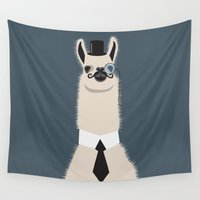 lama Wall Tapestries featuring Sir Lama by Ronja Levinsson
