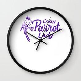 Crazy Parrot Lady pu2 Wall Clock