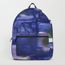 Blue squares clouded watercolor Backpack