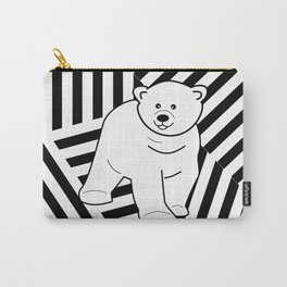 Polar bear on a striped background Carry-All Pouch