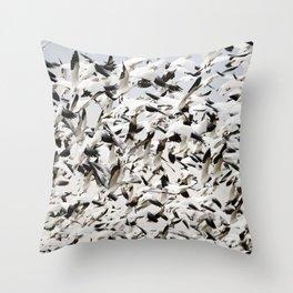 Snow Goose Blizzard Throw Pillow