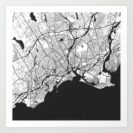 Bridgeport Map Gray Art Print