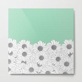 Daisy Boarder Mint Metal Print