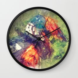 The Starting Gate - Motocross Champion Rider Prepares to Race Wall Clock
