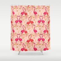 Flamingos by Andrea Lauren Shower Curtain