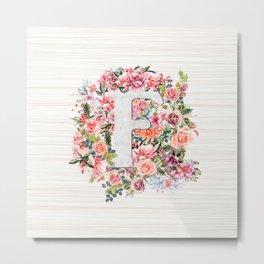 Initial Letter F Watercolor Flower Metal Print
