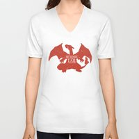 charizard V-neck T-shirts featuring House Charizard by Alecxps