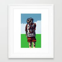 football Framed Art Prints featuring football by jenapaul