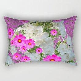 SNOW WHITE PHLOX & FUCHSIA  COSMOS FLOWERS  GARDEN ABSTRACT Rectangular Pillow