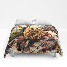 Morel Mushroom in the Wild Comforters