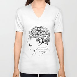 Phrenology symbolic head, psychology, psychiatry psychoanalysis Unisex V-Neck
