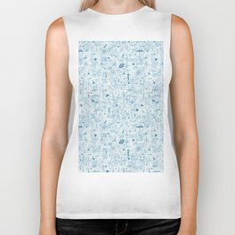 Blue and White Space Inspired Futuristic Pattern Biker Tank