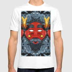 Devil pattern Mens Fitted Tee White SMALL