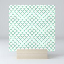 Scales (Mint & White Pattern) Mini Art Print