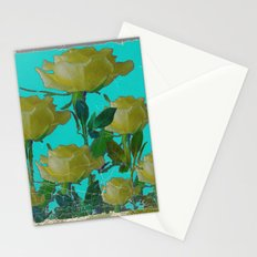 SHABBY CHIC TURQUOISE ANTIQUE IVORY YELLOW ROSE GARDEN Stationery Cards