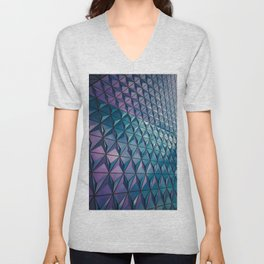 Neon Blue Purple Geometric Pattern Unisex V-Neck