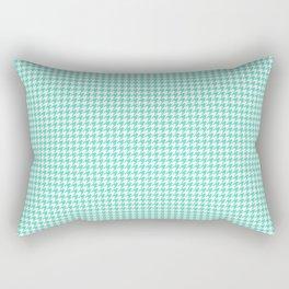 Aqua Blue And White Hounds-tooth Check Rectangular Pillow