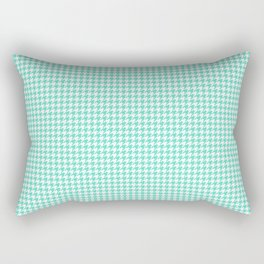 Tiffany Aqua Blue And White Hounds-tooth Check Rectangular Pillow