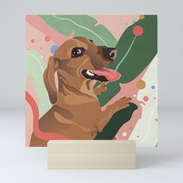 Dachshund puppy with palm leaves in bold colors Mini Art Print