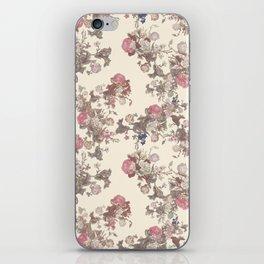 Cream Vintage Flowers iPhone Skin