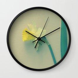 Rustic Daffodil Botanical photograph print; soft yellow lemon yellow bloom Wall Clock