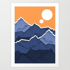The mountains under the two suns Art Print