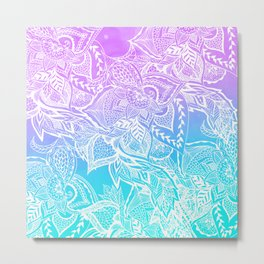 Modern purple turquoise mermaid watercolor floral white boho hand drawn pattern Metal Print