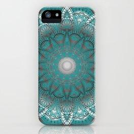 Turquoise Flower Mandala iPhone Case