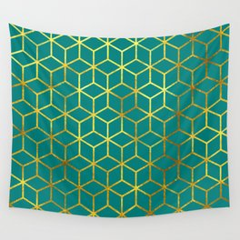 Teal and Gold Squares Wall Tapestry