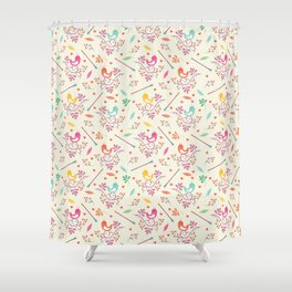 Seamless colorful floral pattern with birds and berry Shower Curtain
