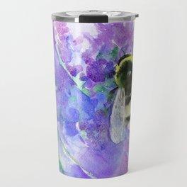 Bumblebee and Lavender Flowers Herbal Bee Honey Purple Floral design Travel Mug