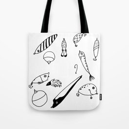 Black and White Lures Tote Bag