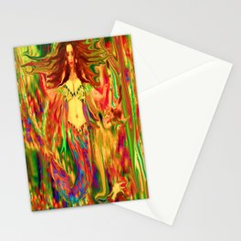 Red mermaid art  nude ladykashmir Stationery Cards