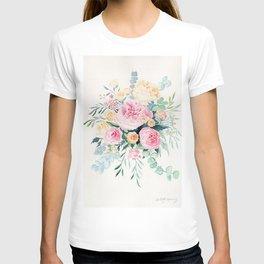 Pink Peonies and Rose Watercolor T-shirt