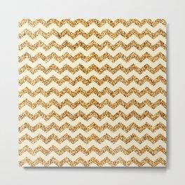 Light Goldenrow Yellow Gold Glitter Chevron Pattern Metal Print