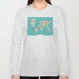 Cartoon animal world map for children and kids, Animals from all over the world Long Sleeve T-shirt