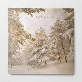 Adventure. Snowing at the mountains. Metal Print