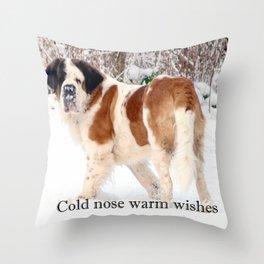 Snow sniffing St Bernard dog Throw Pillow