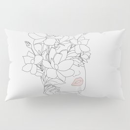 Minimal Line Art Woman with Magnolia Pillow Sham